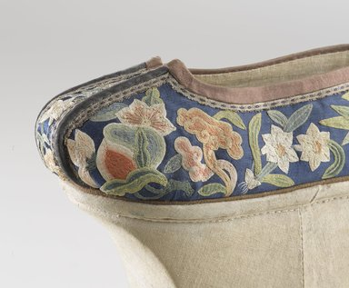 Chinese. Manchu Woman's Shoes, 19th century (probably). Wood, textile, embroidered satin-weave silk, suede piping, 8 ½ x 8 x 3 ¼ in. each (overall). Brooklyn Museum, Brooklyn Museum Collection, 34.1057a-b. Creative Commons-BY