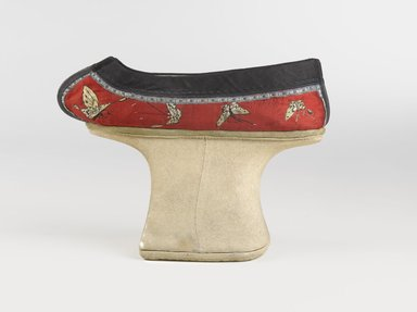 Chinese. Manchu Woman's Shoes, 19th century (probably). Embroidered satin-weave silk, wood, textile, leather, 6 ¼ x 8 ½ x 4 ¼ in. each (overall). Brooklyn Museum, Brooklyn Museum Collection, 34.1060a-b. Creative Commons-BY