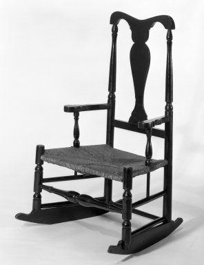 Rocking Chair, 18th century. Wood, Paint, rush, 40 1/2 x 24 7/16 x 16 in. (102.9 x 62.1 x 40.6 cm). Brooklyn Museum, Gift of Mrs. St. Clair McKelway, 34.1152. Creative Commons-BY