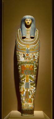 Egyptian. Inner Cartonnage of Gautseshenu, 700-650 B.C.E. Linen, plaster, paint, 64 3/16 x 14 15/16 in. (163 x 38 cm). Brooklyn Museum, Charles Edwin Wilbour Fund, 34.1223. Creative Commons-BY