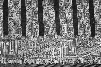 """Paracas Necropolis """"linear"""". Mantle, Fragment or Mantle, 100 B.C.E.-600 C.E. Camelid fiber, 126 x 51 9/16 in.  (320.0 x 131 cm). Brooklyn Museum, Alfred W. Jenkins Fund, 34.1552. Creative Commons-BY"""