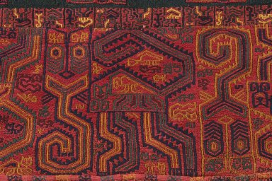 """Paracas Necropolis """"linear"""". Mantle, 100 B.C.E.-100 C.E. Cotton, camelid fiber, 105 1/8 x 51 15/16 in. (267 x 131.9 cm). Brooklyn Museum, Alfred W. Jenkins Fund, 34.1554. Creative Commons-BY"""