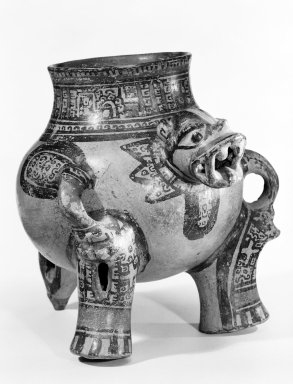 Jaguar Effigy Vessel, 1000-1350. Ceramic, pigment, 8 5/8 x 8 1/2 x 9 1/2 in. (21.9 x 21.6 x 24.1 cm). Brooklyn Museum, Alfred W. Jenkins Fund, 34.1744. Creative Commons-BY