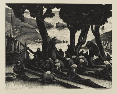 Clare Veronica Hope Leighton (American, born England 1898-1989). The Net Menders, 1933. Woodcut on paper, Sheet: 9 1/4 x 11 in. (23.5 x 27.9 cm). Brooklyn Museum, 34.414. © Estate of Clare Veronica Hope Leighton
