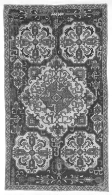 Large Rectangular Cushion Cover, Early 19th century. Plain cloth weave on cotton with silk embroidery, 116.5 x 28 in. Brooklyn Museum, Gift of Pratt Institute, 34.423. Creative Commons-BY