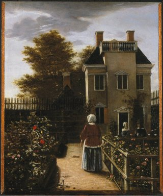 Pieter de Hooch (Dutch, 1629-1684). Flower Garden, ca. 1660. Oil on panel, 20 1/2 x 17 3/16 in. (52.1 x 43.7 cm). Brooklyn Museum, Gift of the executors of the Estate of Colonel Michael Friedsam, 34.481