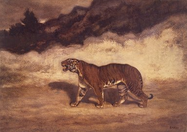 Antoine-Louis Barye (French, 1795-1875). Tiger Walking to the Left (Tigre marchant vers la gauche), n.d. Pastel and watercolor on cream-colored wove paper mounted on thin paperboard, 10 3/8 x 14 9/16 in. (26.4 x 37 cm). Brooklyn Museum, Gift of the executors of the Estate of Colonel Michael Friedsam, 34.482