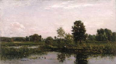 Charles-François Daubigny (French, 1817-1878). A Bend in the River Oise, 1872. Oil on panel, 15 x 26 1/2 in. (38.1 x 67.3 cm). Brooklyn Museum, Gift of the executors of the Estate of Colonel Michael Friedsam, 34.487
