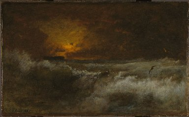 George Inness (American, 1825-1894). Sunset over the Sea, 1887. Oil on panel, 22 1/16 x 36 1/8 in. (56 x 91.8 cm). Brooklyn Museum, Gift of the executors of the Estate of Colonel Michael Friedsam, 34.488