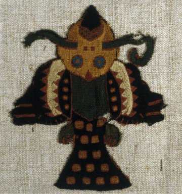 Paracas Necropolis. Textile Fragment Mounted on Modern Fabric, 0-100 C.E. Camelid fiber, 3 7/8 x 4 13/16 in. (9.8 x 12.3 cm). Brooklyn Museum, George C. Brackett Fund, 34.560.1. Creative Commons-BY