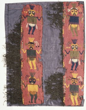 Paracas Necropolis. 2 Textile Fragments, undetermined, Border, 200-600 C.E. Camelid fiber, a, including fringe: 12 3/16 x 4 3/4 in. (31 x 12.1 cm). Brooklyn Museum, George C. Brackett Fund, 34.561a-b. Creative Commons-BY