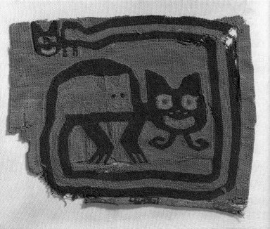 Proto-Nazca, curvilinear. Textile Fragment, undetermined possible Border, 200-600 C.E. Cotton, camelid fiber, 5 7/8 x 4 3/4in. (15 x 12cm). Brooklyn Museum, George C. Brackett Fund, 34.563.2. Creative Commons-BY
