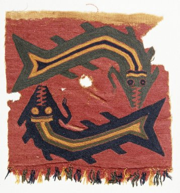 Proto-Nazca, curvilinear. Textile Fragment, undetermined, 200-600 C.E. Cotton, camelid fiber, 6 1/8 x 6 5/16 in. (15.5 x 16 cm). Brooklyn Museum, George C. Brackett Fund, 34.563.3. Creative Commons-BY