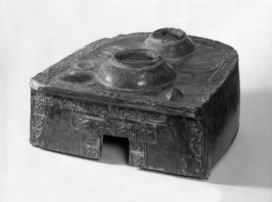 Tomb Model of a Stove, 1st century B.C.E.-2nd century C.E. Earthenware with lead glaze, 7 5/16 x 10 3/4 x 12 in. (18.5 x 27.3 x 30.5 cm). Brooklyn Museum, Brooklyn Museum Collection, 34.5689. Creative Commons-BY