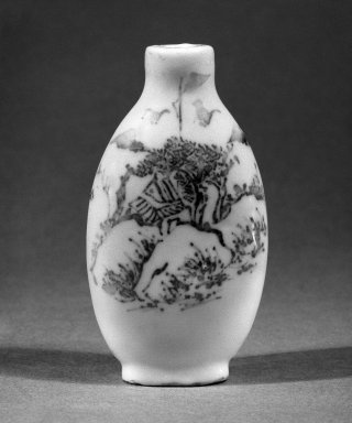 Snuff Bottle, 19th Century. White glazed porcelain, 3 1/8 x 1 7/8 in. (8 x 4.7 cm). Brooklyn Museum, Brooklyn Museum Collection, 34.5714. Creative Commons-BY