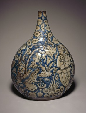 Bottle Depicting a Hunting Scene, first half 17th century. Ceramic; fritware, painted in cobalt blue and black on an opaque white glaze, 11 1/4 x 8 1/4 in. (28.5 x 21 cm). Brooklyn Museum, Brooklyn Museum Collection, 34.6024. Creative Commons-BY