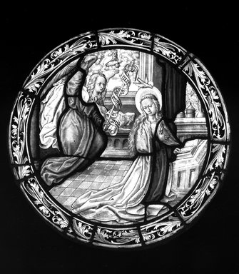 Annunciation. Stained glass, 17 x 17 1/4 in. (43.2 x 43.8 cm). Brooklyn Museum, Gift of Mary Babbott Ladd, Lydia Babbott Stokes, Helen Babbott MacDonald, and Dr. Frank L. Babbott, Jr. in memory of their father, Frank L. Babbott, 34.6090.14. Creative Commons-BY
