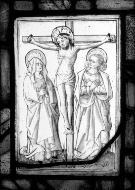 Christ Crucified. Stained glass, 10 3/4 x 8 in. (27.3 x 20.3 cm). Brooklyn Museum, Gift of Mary Babbott Ladd, Lydia Babbott Stokes, Helen Babbott MacDonald, and Dr. Frank L. Babbott, Jr. in memory of their father, Frank L. Babbott, 34.6090.15. Creative Commons-BY