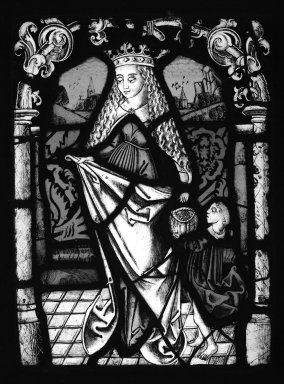 Female Saint, 19 century. Stained glass, 12 3/4 x 9 3/4 in. (32.4 x 24.8 cm). Brooklyn Museum, Gift of Mary Babbott Ladd, Lydia Babbott Stokes, Helen Babbott MacDonald, and Dr. Frank L. Babbott, Jr. in memory of their father, Frank L. Babbott, 34.6090.16. Creative Commons-BY