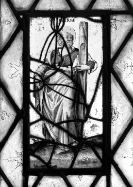 Saint Pierre. Stained glass, 13 1/4 x 7 1/16 in. (33.7 x 17.9 cm). Brooklyn Museum, Gift of Mary Babbott Ladd, Lydia Babbott Stokes, Helen Babbott MacDonald, and Dr. Frank L. Babbott, Jr. in memory of their father, Frank L. Babbott, 34.6090.2. Creative Commons-BY