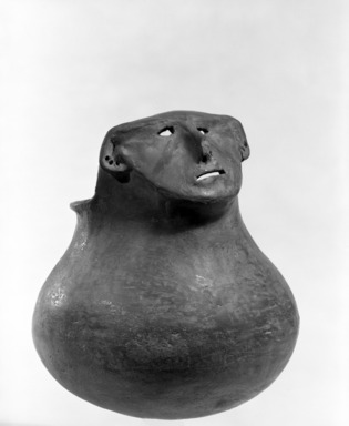 Southwest (unidentified) (Native American). Effigy Jar with Face modelled near rim. Clay, slip, 6 11/16 x 5 1/2 in.  (17.0 x 14.0 cm). Brooklyn Museum, Brooklyn Museum Collection, 34.625. Creative Commons-BY