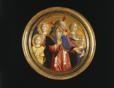 Giovanni Francesco da Rimini (Italian, School of Romagna, active Padua, Florence, Bologna, documented 1441-1470). God the Father with Four Angels and the Dove of the Holy Spirit, ca. 1460. Tempera and gold on panel, 18 1/4 in. (46.4 cm). Brooklyn Museum, Gift of Mary Babbott Ladd, Lydia Babbott Stokes, and Frank L. Babbott, Jr. in memory of their father Frank L. Babbott, 34.835