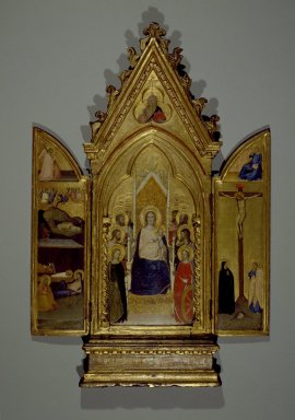 Maso di Banco (Italian, Florentine School, 1341-1346). Triptych: Madonna with Saints and Christ Blessing (Center); The Nativity and the Annunciate Angel (Left Wing); Crucifixion and the Virgin Annunciate (Right Wing), ca. 1336. Tempera and tooled gold on poplar panel in original engaged frame, Center panel: 30 1/8 x 11 3/4 in. (76.5 x 29.8 cm). Brooklyn Museum, Gift of Mary Babbott Ladd, Lydia Babbott Stokes, and Frank L. Babbott, Jr. in memory of their father Frank L. Babbott, 34.838