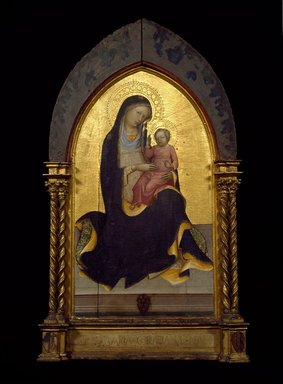Lorenzo Monaco (Italian, School of Florence, circa 1370/71-1424). Madonna of Humility, ca. 1415-1420. Tempera and tooled gold on panel with engaged frame, 33 1/4 x 18 7/8 in. (84.5 x 47.9 cm). Brooklyn Museum, Gift of Mary Babbott Ladd, Lydia Babbott Stokes, and Frank L. Babbott, Jr. in memory of their father Frank L. Babbott, 34.842