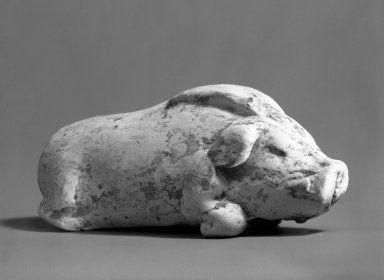 Tomb Model of a Boar Crouching, 618-906. Earthenware, 5 5/16 x 1 9/16 in. (13.5 x 4 cm). Brooklyn Museum, Brooklyn Museum Collection, 34.884. Creative Commons-BY