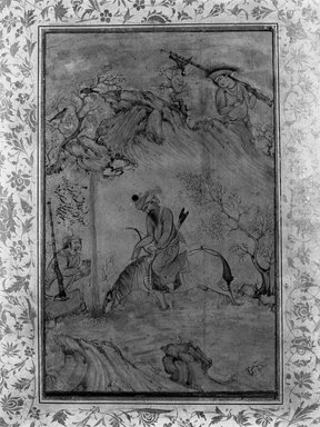 Riza `Abbasi (Persian, active 1585-1635). Hunters at a Stream, ca. 1625. Ink, opaque watercolor and gold on polished rag paper, 13 3/8 x 8 7/8 in. (33.9 x 22.5 cm). Brooklyn Museum, Frank L. Babbott Fund, 35.1027