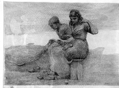 Winslow Homer (American, 1836-1910). Mending the Nets. Etching, Image: 15 1/4 x 21 7/16 in. (38.7 x 54.5 cm). Brooklyn Museum, Museum Collection Fund, 35.1058
