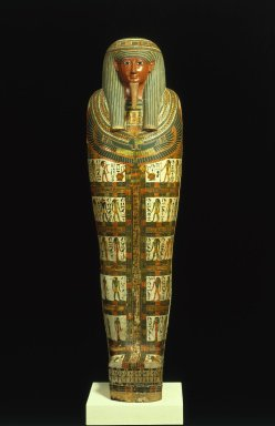 Cartonnage of Nespanetjerenpere, ca. 945-718 B.C.E. Cartonnage (linen mixed with plaster), painted, with eyes and eyebrows inlaid with glass and lapis lazuli, 69 11/16 x 17 5/16 in. (177 x 44 cm). Brooklyn Museum, Charles Edwin Wilbour Fund, 35.1265. Creative Commons-BY