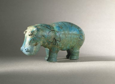 Hippo, ca. 1938-1539 B.C.E. Faience, painted, 1 3/4 x 4 1/4 in. (4.5 x 10.8 cm). Brooklyn Museum, Charles Edwin Wilbour Fund, 35.1276. Creative Commons-BY
