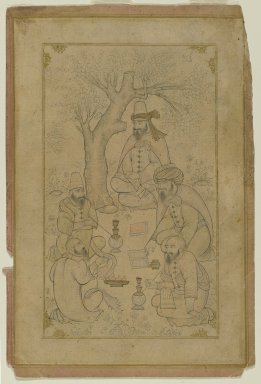 A Gathering of Dervishes, mid-17th century or later. Ink and light color wash on paper, Image: 9 1/16 x 5 7/8 in. (23 x 14.9 cm). Brooklyn Museum, Brooklyn Museum Collection, 35.1522