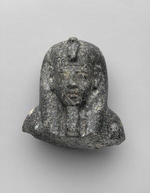 Head from a Shabty of King Akhenaten, ca. 1352-1336 B.C.E. Granite, 3 1/2 x 3 9/16 x 2 3/4 in. (8.9 x 9 x 7 cm). Brooklyn Museum, Charles Edwin Wilbour Fund, 35.1868. Creative Commons-BY