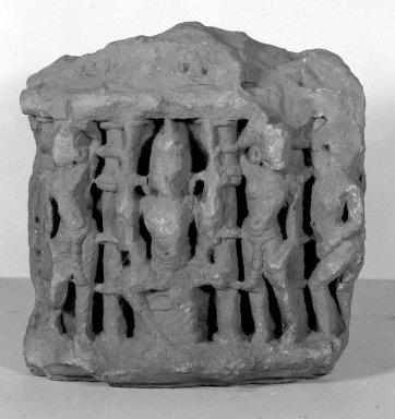 Architectural Fragment with Relief of Seated Deity and Attendants, 12th century. Sandstone, 12 3/16 x 12 5/8 x 3 15/16 in. (31 x 32 x 10 cm). Brooklyn Museum, Brooklyn Museum Collection, 35.1949. Creative Commons-BY