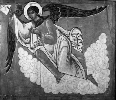 Unknown Russian artist. Angel, 16th century. Unframed panel, 56 x 61 3/4 in. (142.2 x 156.8 cm). Brooklyn Museum, Anonymous gift, 35.621