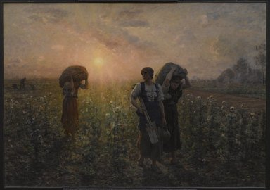 Jules Breton (French, 1827-1906). Fin du travail (The End of the Working Day), 1886-1887. Oil on canvas, 33 1/16 x 47 1/4in. (84 x 120cm). Brooklyn Museum, Gift of Mrs. Edward S. Harkness, 35.867