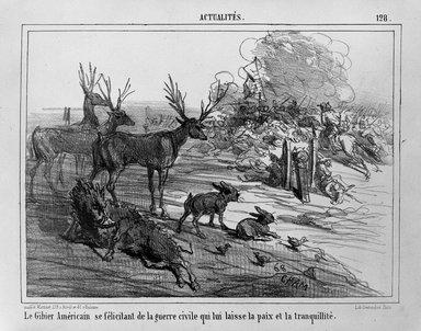 Vicomte de Noé, Amédée Charles Henri (Cham) (French, 1819-1879). Le Gibier Américain se félicitant de la guerre civile qui lui laisse la paix et la tranquillité, ca. 1862. Lithograph on wove paper, 7 3/16 x 9 13/16 in. (18.2 x 24.9 cm). Brooklyn Museum, Frederick Loeser Fund, 35.975