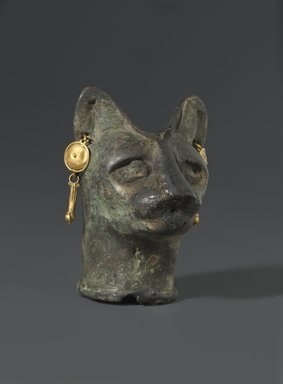 Cat's Head, 30 B.C.E. to third century C.E. Bronze, gold, 2 3/8 x 1 3/4 x 1 13/16 in. (6 x 4.4 x 4.6 cm). Brooklyn Museum, Charles Edwin Wilbour Fund, 36.114. Creative Commons-BY