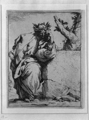 Jusepe de Ribera (Spanish, 1591-1652). The Poet, ca.1620-1621. Etching on laid paper, 6 5/16 x 4 13/16 in. (16 x 12.2 cm). Brooklyn Museum, Frank L. Babbott Fund, 36.139