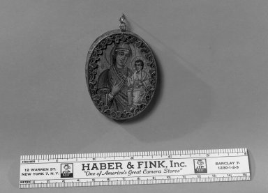 Byzantine. A Thin Oval, Framed -Image of Madonna and child, 15th century. Wood, paint, metal with inlay, 2 3/8 x 1 15/16 in. (6 x 5 cm). Brooklyn Museum, Frank L. Babbott Fund and Henry L. Batterman Fund, 36.201