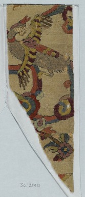 """Angel"" Carpet Fragment, early 16th century. Wool and silk pile, asymmetrical knot, Old, approx.: 13 x 6 1/2 in. (33 x 16.5 cm). Brooklyn Museum, Gift of Herbert L. Pratt in memory of his wife, Florence Gibb Pratt, 36.213d. Creative Commons-BY"
