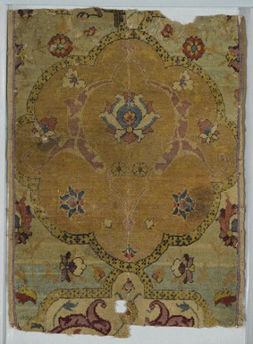 """Angel"" Carpet Fragment, early 16th century. Wool and silk pile, asymmetrical knot, Old, approx.: 18 1/2 x 6 1/2 in. (47 x 16.5 cm). Brooklyn Museum, Gift of Herbert L. Pratt in memory of his wife, Florence Gibb Pratt, 36.213e. Creative Commons-BY"