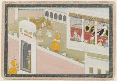 Indian. Leaf from a Dispersed Hamir Hath Series, 1800-1810. Opaque watercolor and gold on paper, sheet: 9 5/8 x 13 7/8 in.  (24.4 x 35.2 cm). Brooklyn Museum, 36.233