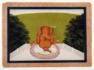 Indian. Ganesha, ca. 1775-1800. Opaque watercolor on paper, sheet: 8 3/16 x 11 5/16 in.  (20.8 x 28.7 cm). Brooklyn Museum, Gift of Dr. Ananda K. Coomaraswamy, 36.242