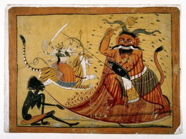Indian. Durga Slaying the Buffalo Demon, Raktabij, and Kali Lapping up the Demon's Blood, Page from a Markandeya Purana Series, 1800-1825. Opaque watercolor on paper, sheet: 11 1/8 x 15 in.  (28.3 x 38.1 cm). Brooklyn Museum, Gift of Dr. Ananda K. Coomaraswamy, 36.245