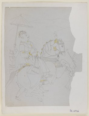 Indian. Equestrian Portrait of Ram Singh II of Kota, ca. 1850. Ink and color on paper, sheet: 10 5/8 x 8 3/8 in.  (27.0 x 21.3 cm). Brooklyn Museum, Gift of Dr. Ananda K. Coomaraswamy, 36.246