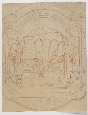 Large First Drawing for a Miniature Painting, late 18th century. Brush, charcoal, 12 1/2 x 9 5/8 in. (31.7 x 24.5 cm). Brooklyn Museum, Gift of Dr. Ananda K. Coomaraswamy, 36.247