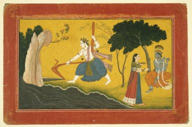 Indian. Balamara Diverting the Course of the Yamuna River with his Plough, ca. 1760-1765. Opaque watercolor and gold on paper, sheet: 7 5/16 x 11 3/16 in.  (18.6 x 28.4 cm). Brooklyn Museum, A. Augustus Healy Fund and Frank L. Babbott Fund, 36.250